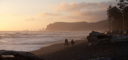 Rialto Beach at sunset - Click to zoom !