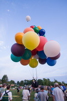 Jonathan Trappe unusual balloons settings, carrying him over lakes Winnebago and Michigan