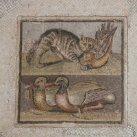 Mosaic with a cat and ducks (1st BC)