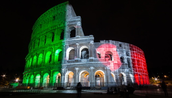 Colosseum at night in italian colours