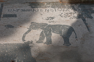 Elephant mosaic - Ivory trade from Sabrata (Libya)