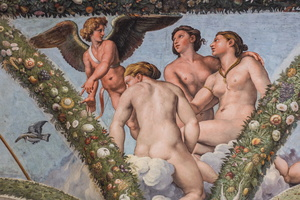 Cupid prays his sisters the Three Graces to give strength to Psyche