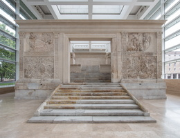 Main entrance. Fresco of Lupercal (left) and Aeneas (right)