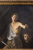David holding Goliath's head (self portrait) (Caravaggio, 17th AD)